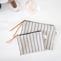 linen stripe pouch _ 2 size