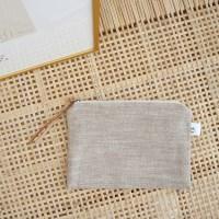 linen herringbone pouch