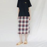 [치즈달] 체크 밴딩 미디 스커트