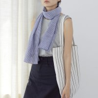 Striped Cotton Scarf (BLUE)