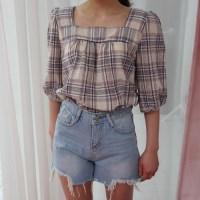 Square check blouse