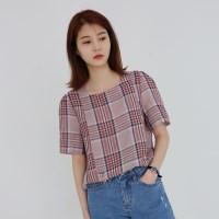 Casual button check blouse