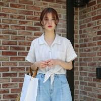 Summer stripe half shirt