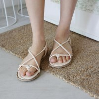 Knot through strap sandals