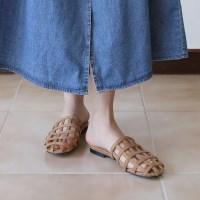 Net suede strap slipper