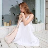 Romantic linen slip one-piece
