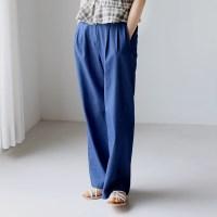 Denim pintuck wide pants