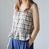 Lovely frill check sleeveless