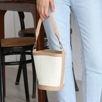 Weave fabric mini basket bag