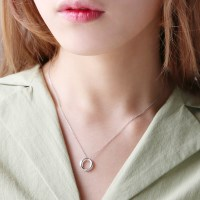 Silver bright bold ring necklace (silver 925)
