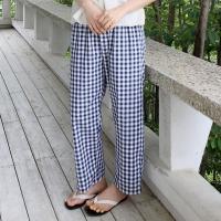 Gingham check cozy pants