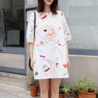 Color drawing mini dress
