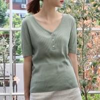 Deep neck slim half knit