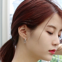Silver circle link earrings (silver925)