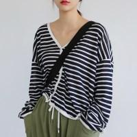Linen short stripe cardigan
