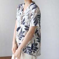 Slop leaf pattern blouse