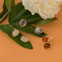 3 color gold point earring