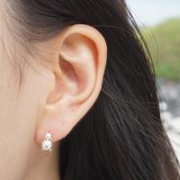 14k gold pearl bear earring