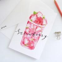 캘리그라피 카드] 딸기라떼