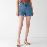 unbalance waist cutting shorts