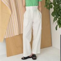 high waist pintuck detail wide pants