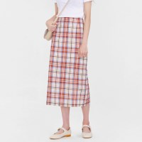 pepper check linen skirt (s, m)_(1001041)