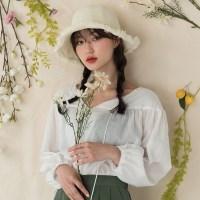 string detail shirring blouse