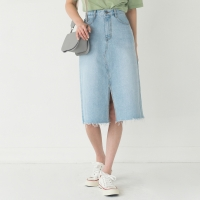 slit detail cutting midi denim skirt