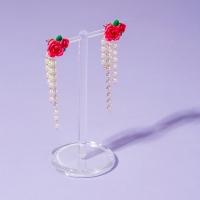 장미꽃 진주 타슬 귀걸이