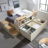 평상형 멀티수납 침대 프레임+수납계단+와이드책장 DF638551