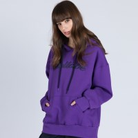 EMBROIDERY PULL OVER HOODIE (PURPLE)