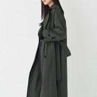 slit detail long trench coat