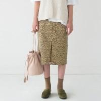 leopard banding midi skirt