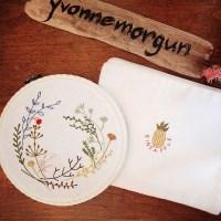 혜자 프랑스자수 액자&파우치 소품 DIY 키트 - 식물라인드로잉