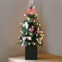 크리스마스 박스트리 SET-핑크 (90cm)