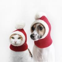 강아지 고양이 메리겨울 레드 방울 모자 목도리 Miyopet