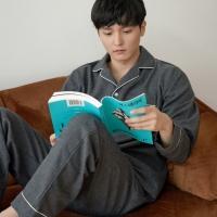 [m] Melange Gray Flannel Pajama Set