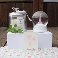핑크 에펠탑 스노우볼 & 캔들 셋트