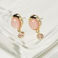 핑크 라운드 원석 드랍 귀걸이