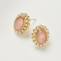 핑크 타원 원석 귀걸이