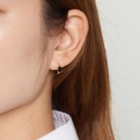 [925실버] 골드 바 미니원터치 귀걸이