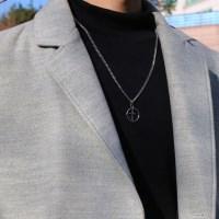 남자 목걸이 삽자가 펜던트 원 링 써지컬 스틸 necklace_(888581)