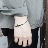 남자 팔찌 십자가 펜던트 써지컬 스틸 chain simple cro_(895635)