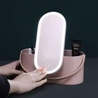라운드 LED 조명거울 미니 메이크업 스토리지 박스