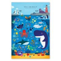 색감쏙쏙 일러스트 포스터 - 바다동물 유아포스터 아기학습 벽보