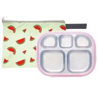 수박젤리 일자형 핑크 유아식판 뚜껑+파우치 포함
