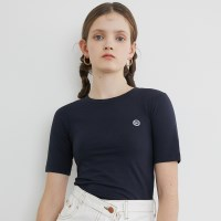 [루흠] LOGO POINT CROP T NAVY