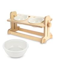 캣토피아 원목 반려동물 높이조절 식탁2구 도자기식기 세트