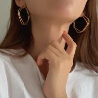 더블 마름모 링 귀걸이