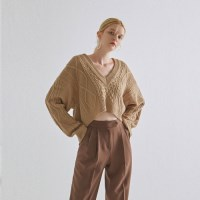 LAYERED V CROP KNIT_BEIGE